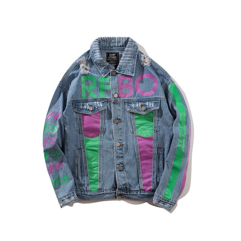 Men\u0027S Spring And Autumn Jacket Hip Hop Stitching Denim Men\u0027S Jacket