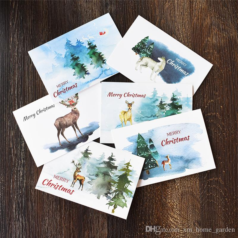 Notes Watercolour Christmas Thank You Card With Envelope Stickers