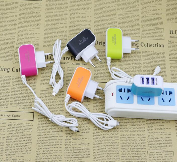 31A 3 USB Port Wall Home Travel AC Charger Adapter With Micro Usb