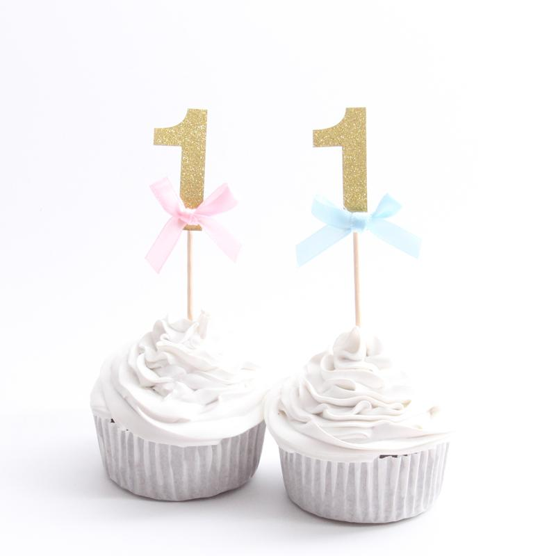 2019 Happy First Birthday Cupcake Toppers 1st Baby Boy Girl