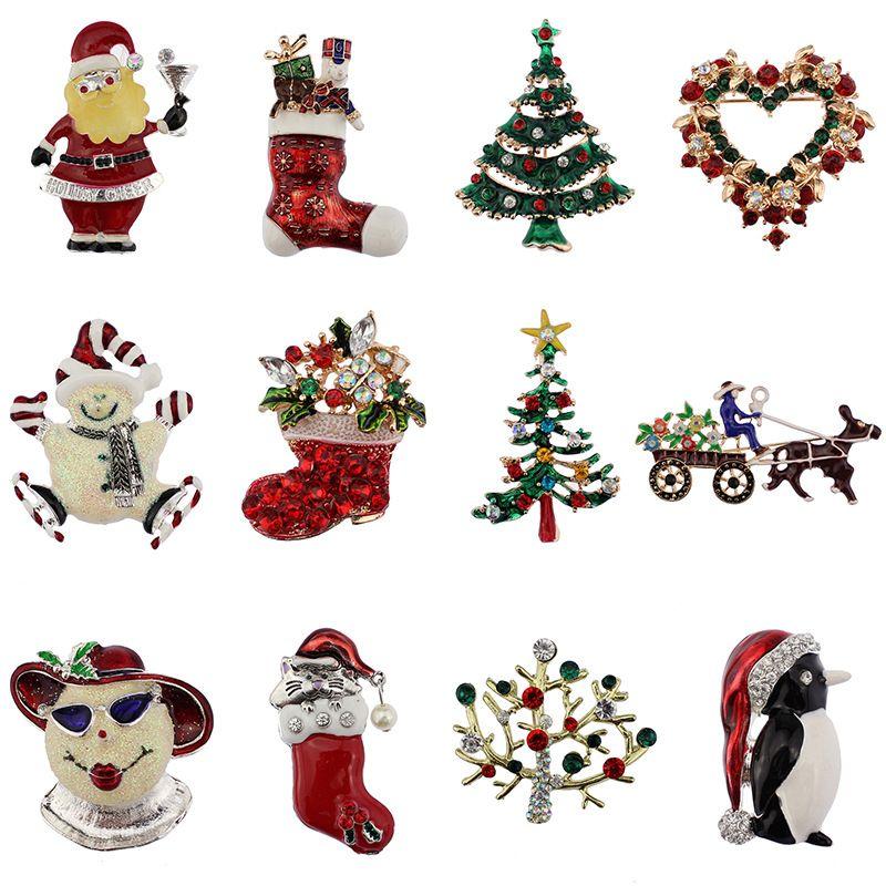 2019 Cute Christmas Brooch Pin Set Elegant Christmas Tree Pins 12
