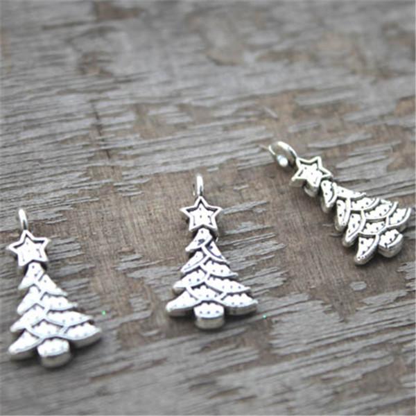 25 silver Christmas Tree charms pendants lead nickel /& cadmium free