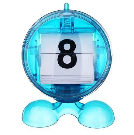 2019 Round Blue Desktop Manual Mini Flip Page Calendar Counter ABS