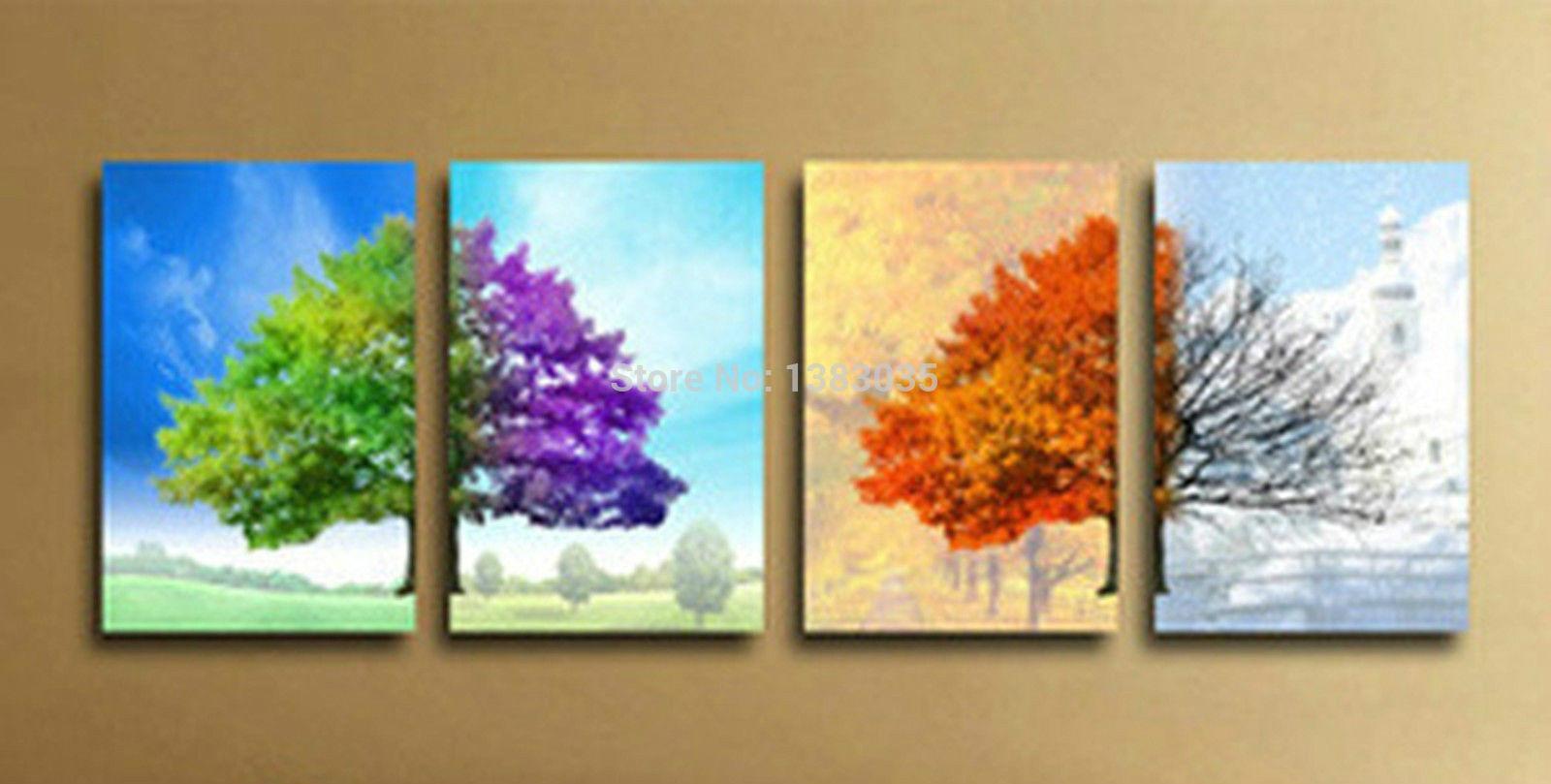 Wholesale Hand Painted Modern 4 Seasons Tree Wall Art