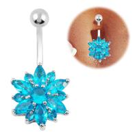 Dangle Belly Ring Flower Belly Button Ring Navel Piercing ...