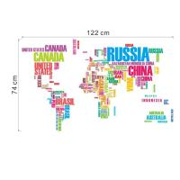Colorful World Map Wall Art Mural Poster Sticker Decor ...