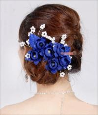 Wedding Flower Set Tiaras P0219 Hair Blue Bridal Crown ...