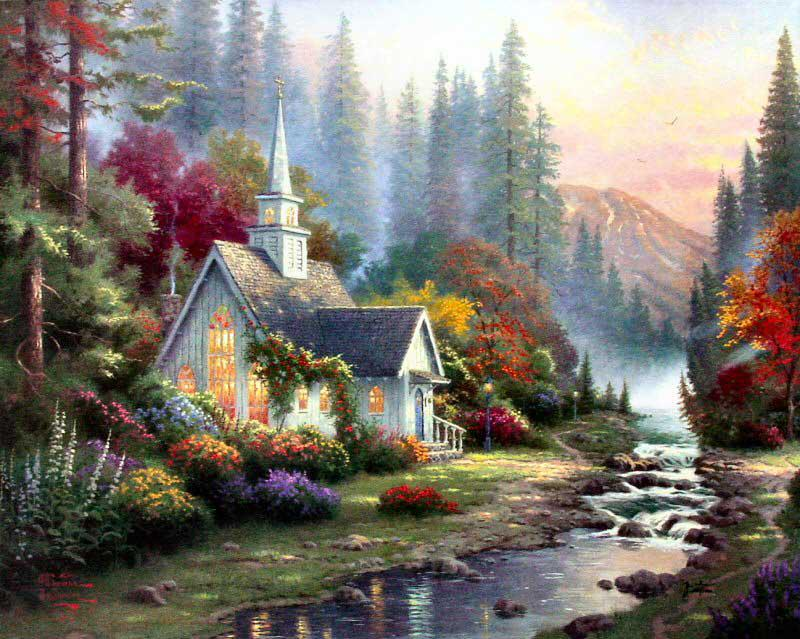 American Paint And Wallpaper Fall River Canvas Art Wholesale Landscape Oil Painting Forest Chapel