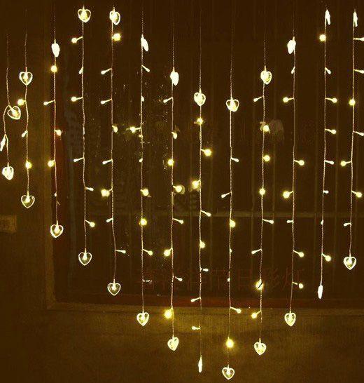 Fall String Lights Wallpaper Weddings Warm White Led Heart Curtain Light Love Lights Wedding