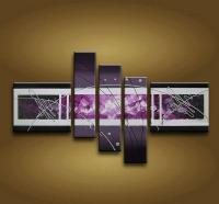 2018 Framed 5 Panel Large Purple Wall Art Abstract Oil ...