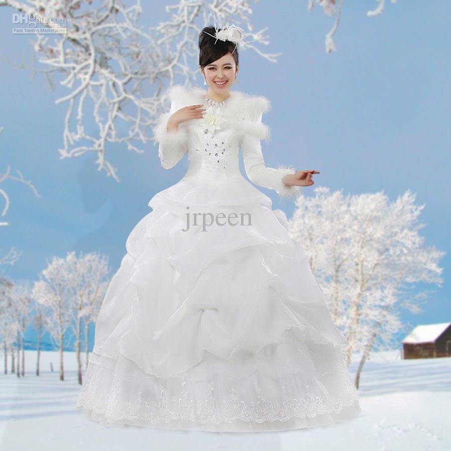 Korean winter long sleeve wedding dress winter fur collar thickening cotton wedding wedding dress sale wedding dresses for men from jrpeen 146 74 dhgate