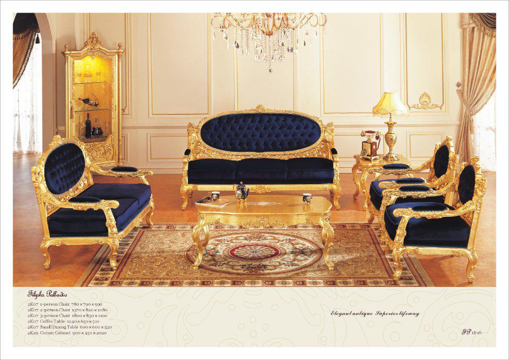 2017 French Antique Furniture ,All Golden Foil Living Room Sofa - antique living room sets