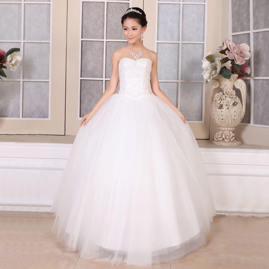 dhresource com 1 heart shaped wedding dress Wedding dress new korean korean heart shaped super bright pearl