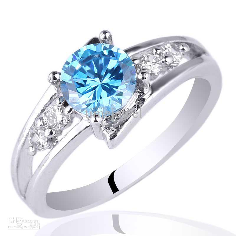 2018 6mm Round Stone Promise Ring Blue Topaz .925 Sterling