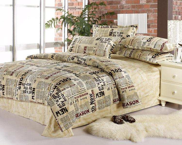 English Newspaper Bedding Comforter Set Queen Size