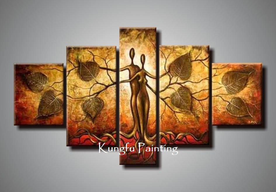 2017 100 Hand Painted Discount Abstract 5 Panel Canvas Art Living - living room canvas art