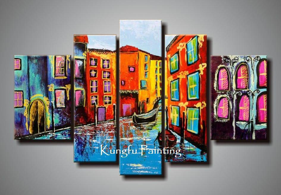 2017 100 Hand Painted Abstract Unframed 5 Panel Canvas Art Living - living room canvas art
