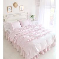 Textile Beautiful Pink Lace Ruffled Comforter Sets,Duvet ...