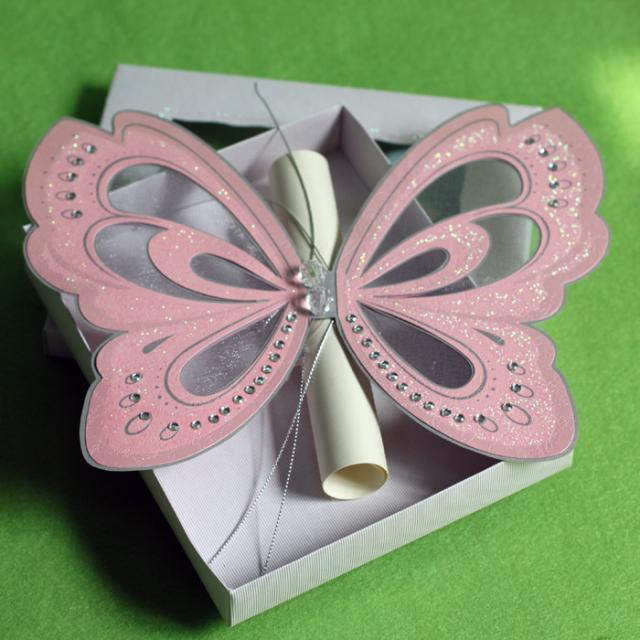 Creative Handmade Pink Elegant Butterfly Wedding Invitations With - Best Of Handmade Formal Invitation Card