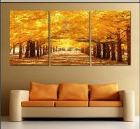 Framed 3 Panel Large Golden Avenue Landscape Wall Art ...