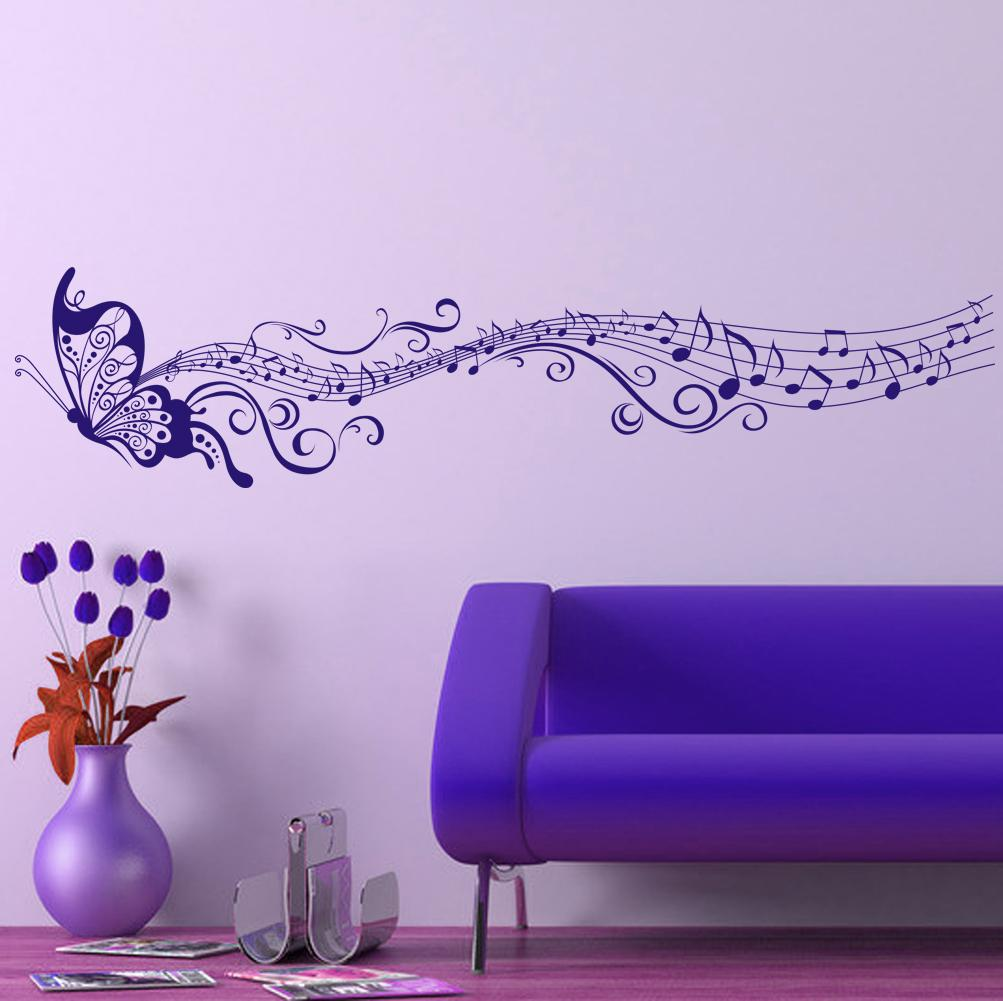 Baby Girl Nursery Removable Wallpaper Large Singing Purple Butterfly Wall Stickers Home Decor