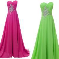 Stock Hot Pink/Lime Green Long Prom Dresses Chiffon ...