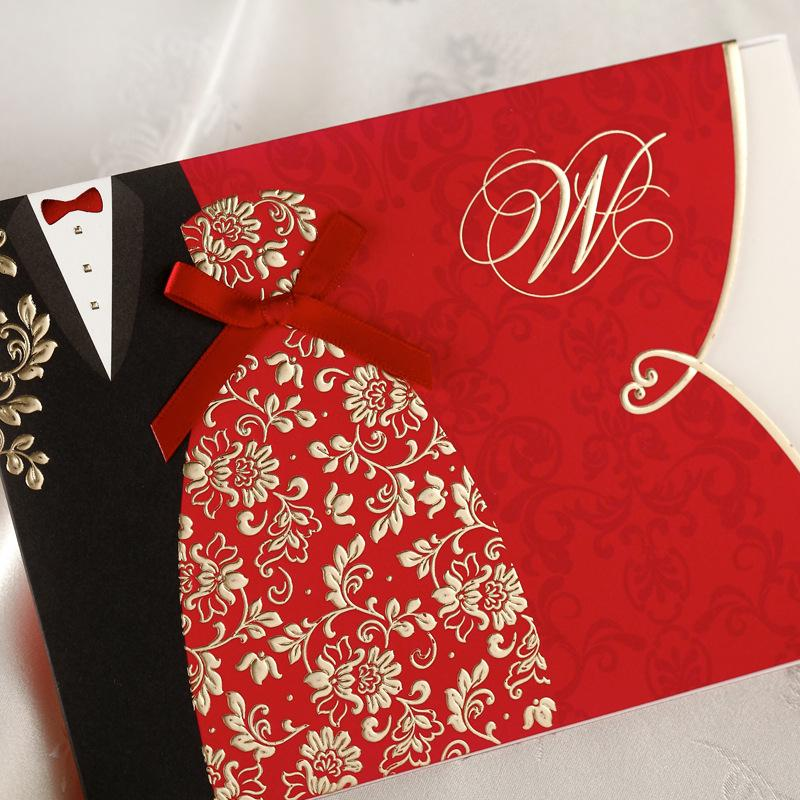Special Wedding Invitations Cards Folded With Red Bridal And Groom