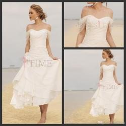 Calm Discount Short Casual Beach Wedding Dresses 2014 Fall Chiffon Knee Lengthruffles Off Shoulder Sexy Spaggti Straps Vintage Bridal Gowns Discount Short Casual Beach Wedding Dresses 2014 Fall Chiffo wedding dress Casual Beach Wedding Dresses