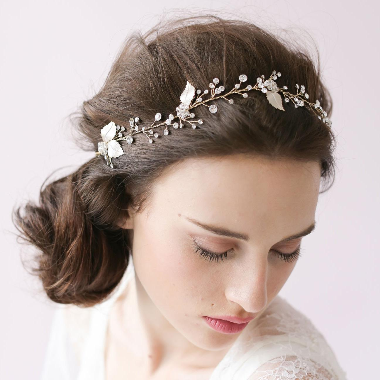 Crystal sparkle hair vine petals blossom wedding headband bride accessories hair accessories vintage bridal combs rhinestone hair adornments silver hair