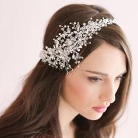Handmade Crystal Ice Bridal Sparking Headpiece Beaded ...
