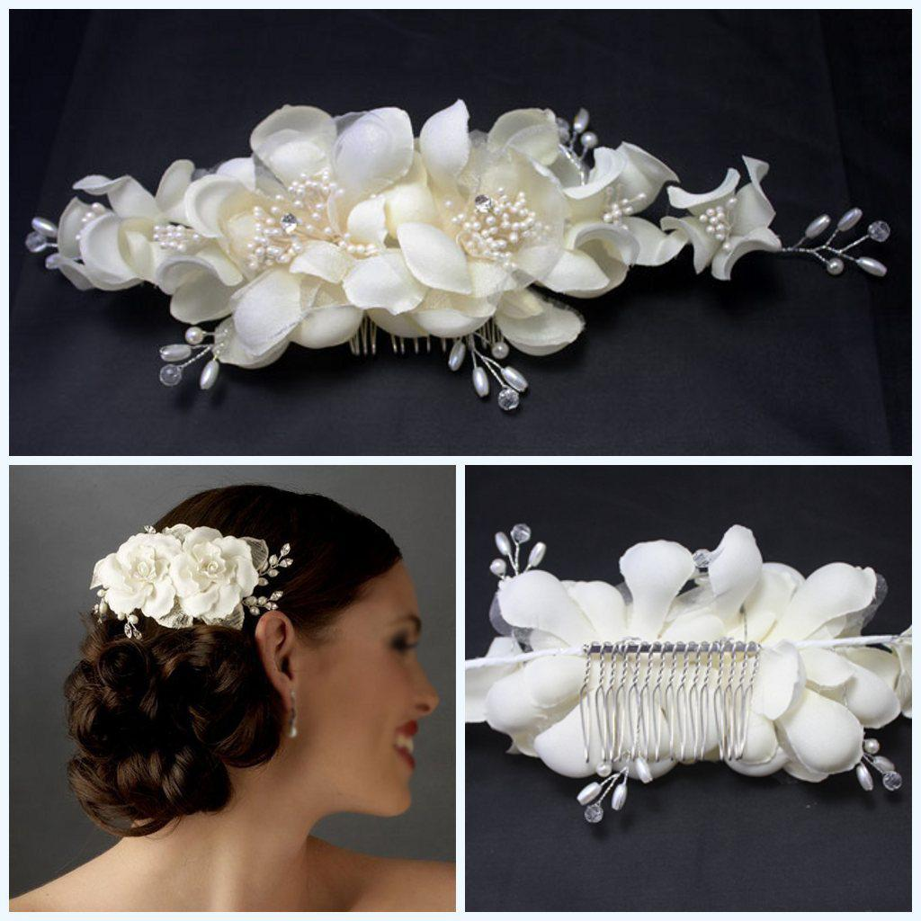 100 handmade white wedding bride hair flower accessories with comb stock cheap evening prom head wear bridal tiaras hair accessories