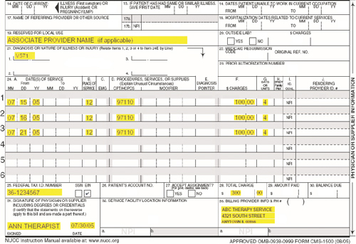 DHS Attachement B CMS - 1500 Form Example