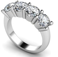 4 Stone Round Diamond Half Eternity Ring