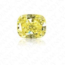 3 07 Carat Cushion Cut Natural Fancy Intense Yellow Diamond Loose