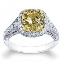 Micro Pave Yellow Diamond Engagement Rings