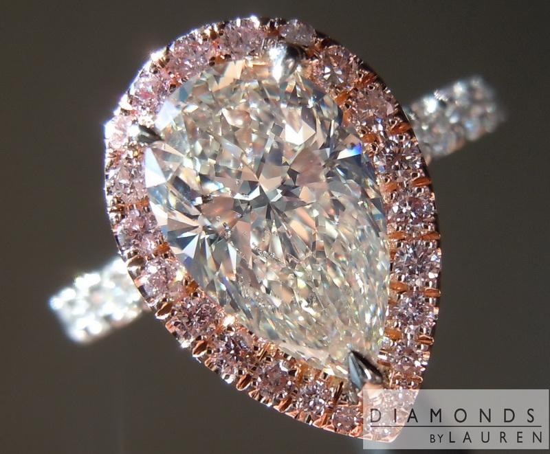Strong Blue Fluorescence Pear Shape Diamond Diamond Ring