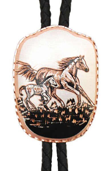 Copper Horse and Colt Bolo Tie Badge Shaped