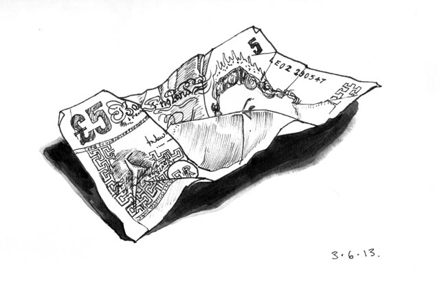 Drawing of a five pound note