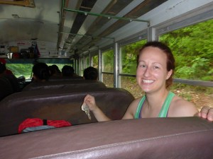 Happy to ride the $2.50 USD bus from Benque to Belmopan!