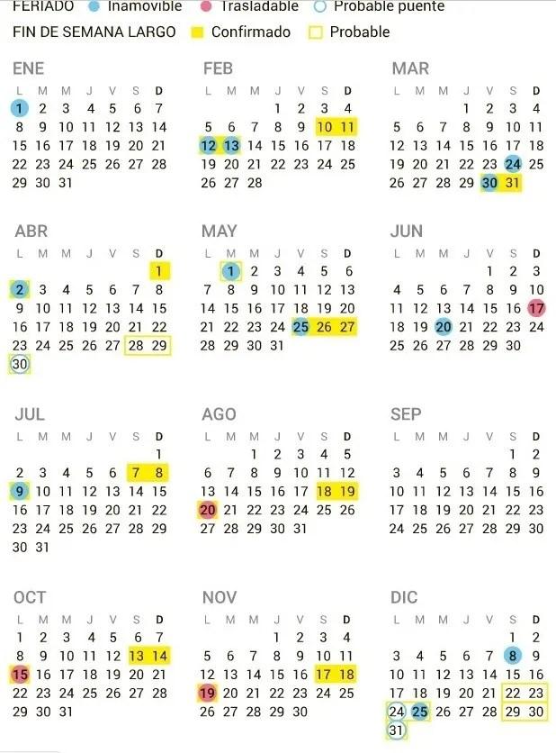 Cómo quedaría el calendario 2018 con los feriados puente Diario de