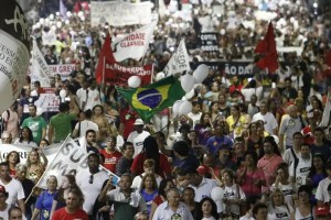 State teachers march in protest in Sao Paulo, Brazil, on April 17, 2015 demanding a pay rise. AFP PHOTO / MIGUEL SCHINCARIOL        (Photo credit should read Miguel Schincariol/AFP/Getty Images)