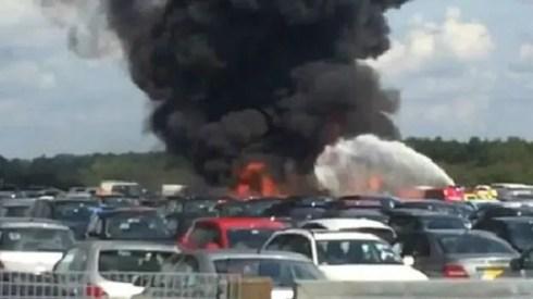 El jet privado explotó cuando inició el descenso en un aeródromo en el sur de Inglaterra. (Foto: BBC)