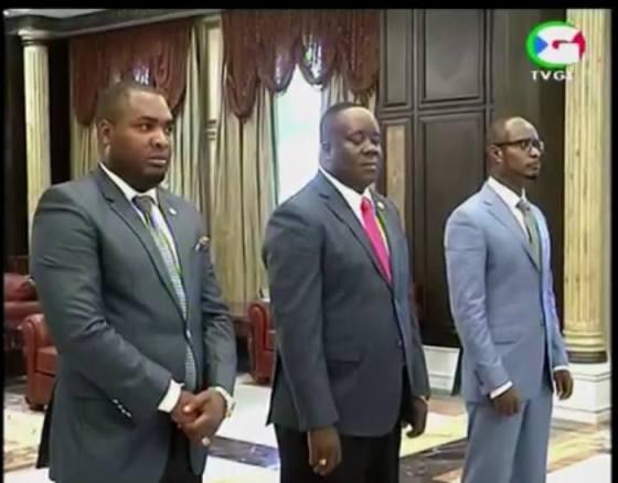Antonio Engonga Oburu (Director General), Vicente Abeso Mbuy, (Director General Adjunto) y Gabriel Mbaga Nchama, (Segundo Director General)