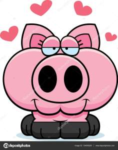 A cartoon illustration of a little pig with an in love expression.