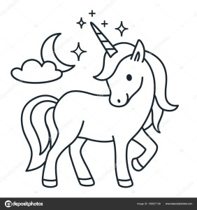 Cute unicorn simple cartoon vector coloring book illustration. Simple flat line doodle icon contemporary style design element isolated on white. Magical creatures, fantasy, fairy, dreams theme.