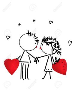 Valentines Day kiss, cartoon romantic people in love illustration