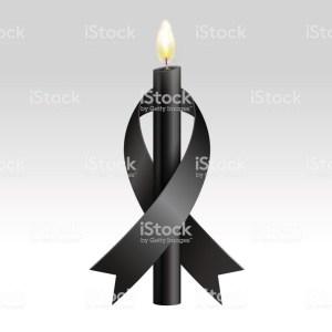 Black ribbon & Black candles mourning.