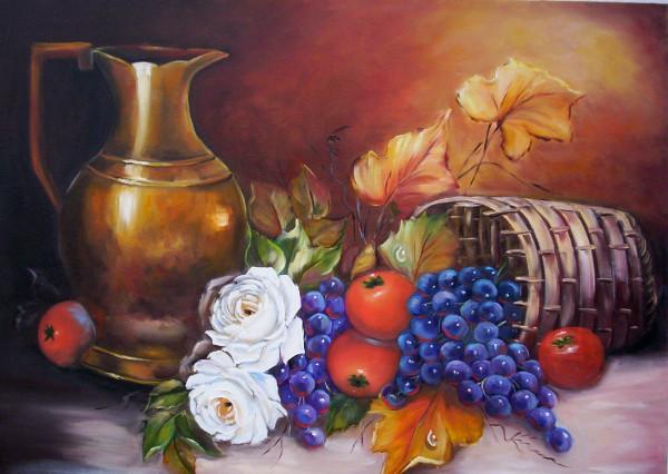 Frutas, vinho e flores em pintura de natureza morta