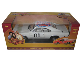"White Chase Car"" 1969 Dodge Charger General Lee ""The Dukes Of Hazard"" Movie 1/18 Diecast Car Model by Johnny Lightning"