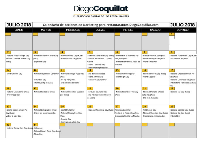 Julio de 2018 calendario de acciones de marketing para restaurantes
